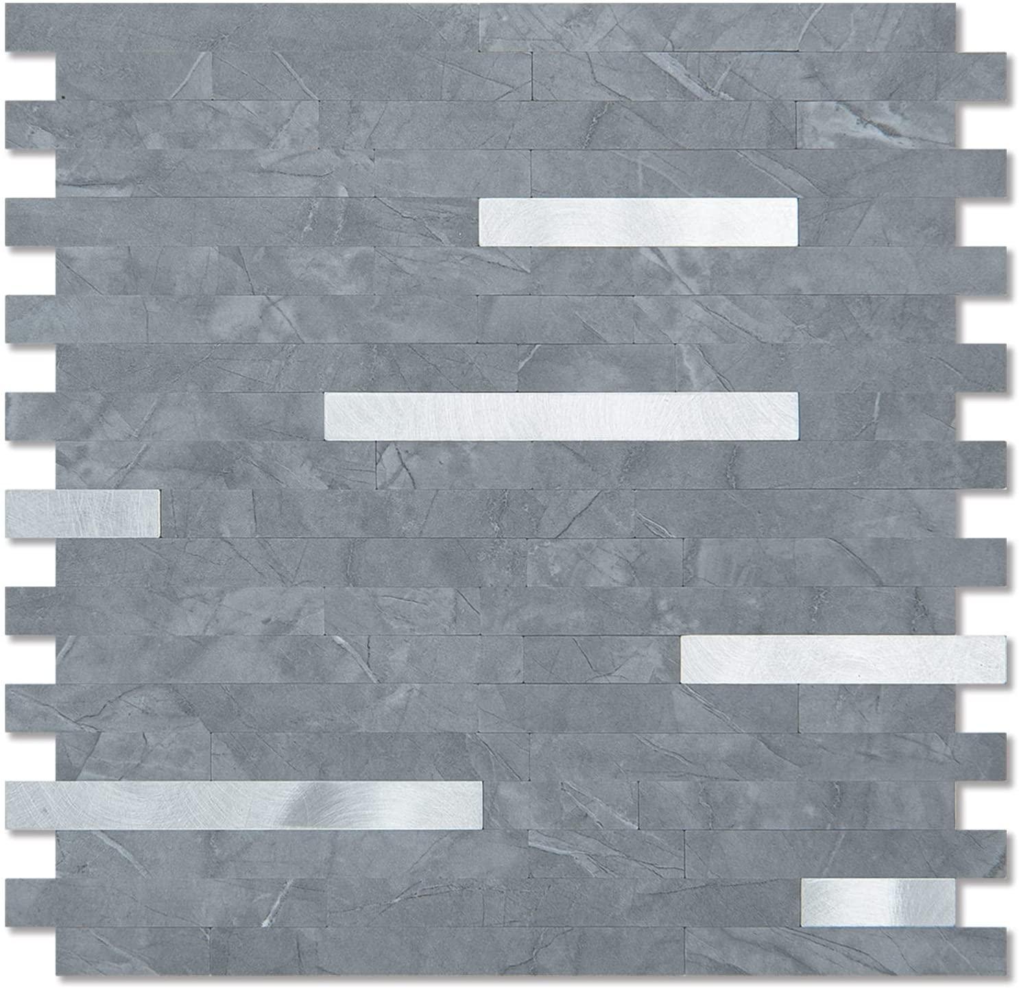 A16611-Art3d 10-Sheet Peel and Stick Stone Backsplash Tile for Kitchen, Bathroom - Volakas White Embellished with Metal Silver
