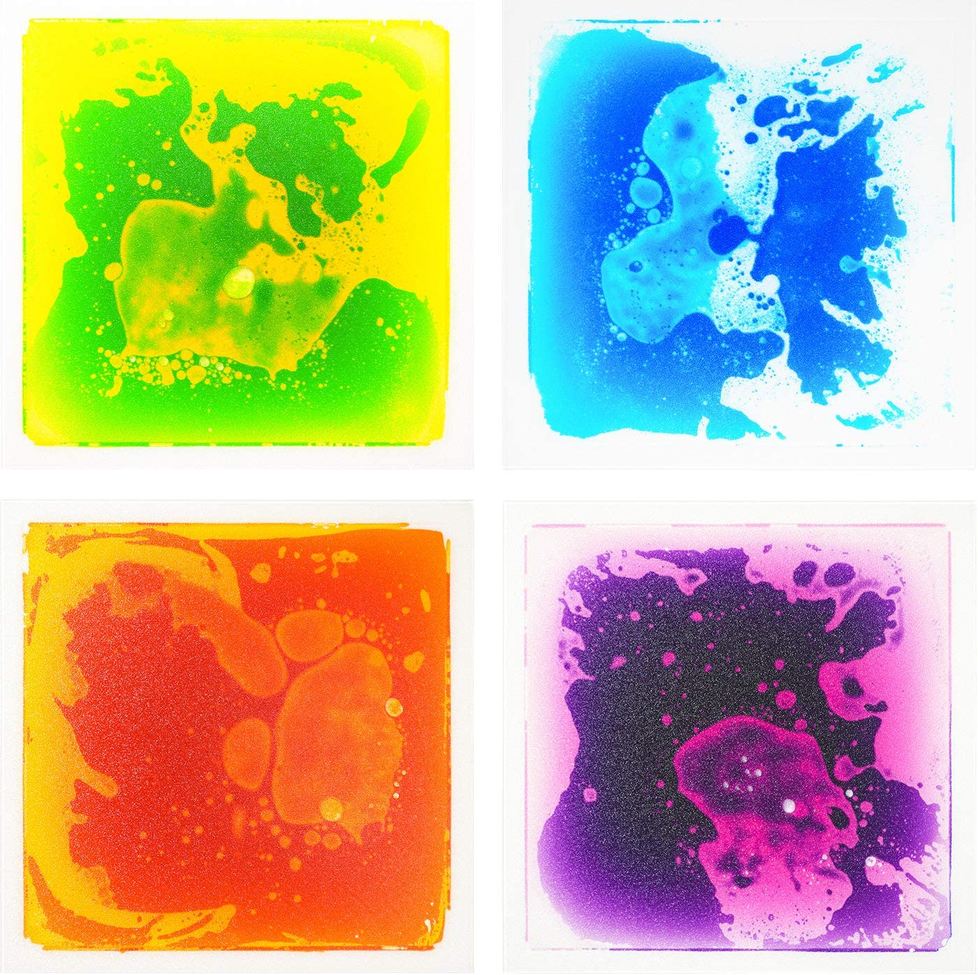 A11410 - Multi-Color Exercise Mat Liquid Encased Fancy Playmat Kids Play Floor Tile, Set of 4