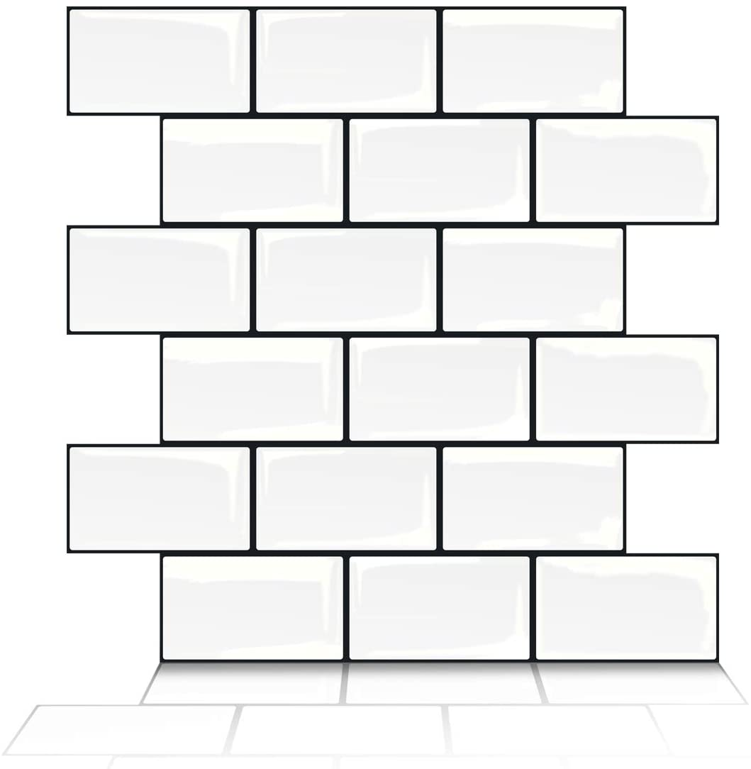 A17702-Art3d Subway Tiles Peel and Stick Backsplash, Stick on Tiles Kitchen Backsplash (10 Tiles, Thicker Version)
