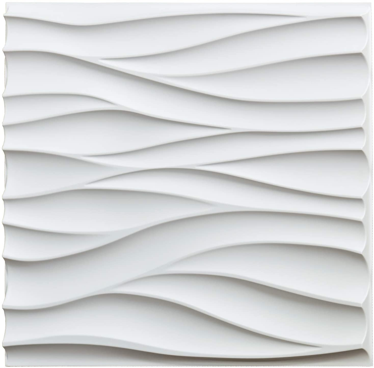 A10046 - Textures 3D Wall Panels White Wave Wall Design, 12 Tiles 32 SF