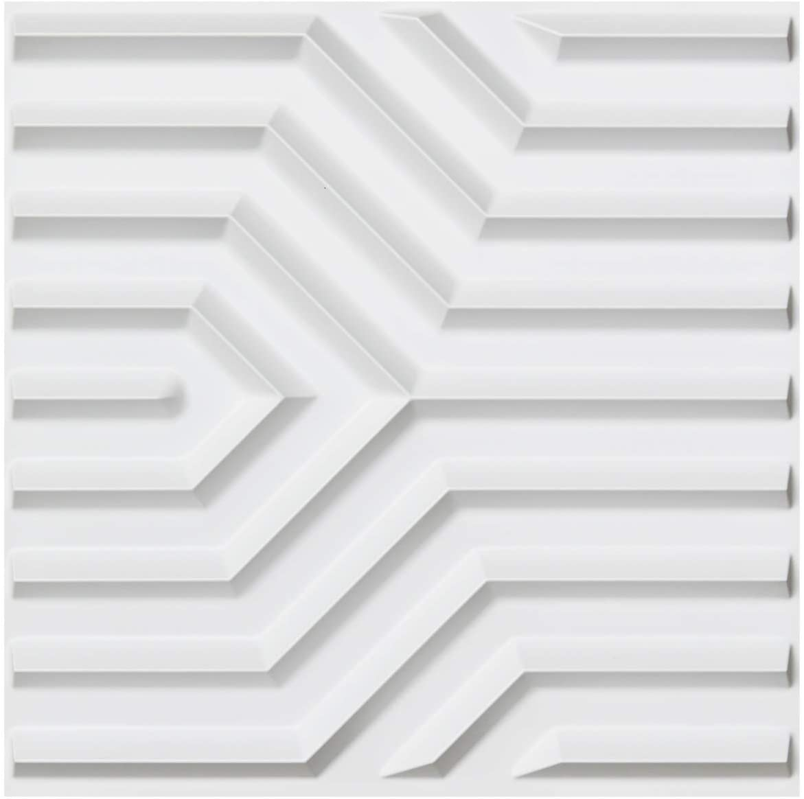 A10043 - Plastic 3D Wall Panel PVC Wall Design, White, 12 Tiles 32 SF
