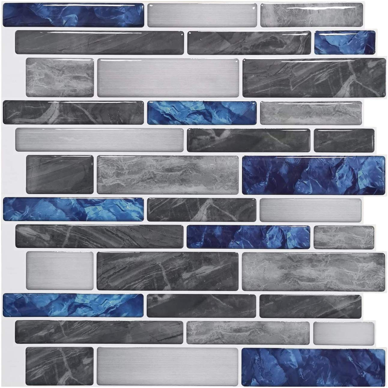 A17011 - Light 3D Mosaic Tile Peel and Stick Backsplash 10 Pieces 9.5 Sq.F