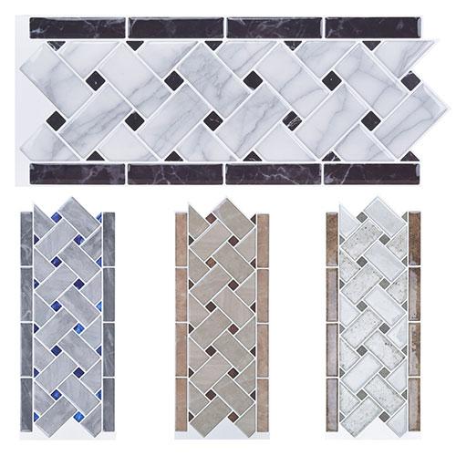 Art3d Tile Borders Peel and Stick Backsplash 12.4