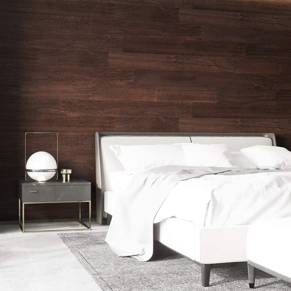 A15503f -Art3d Reclaimed Wood Planks, Easy Peel and Stick Application, Blackened Brown (16 Sq Ft)