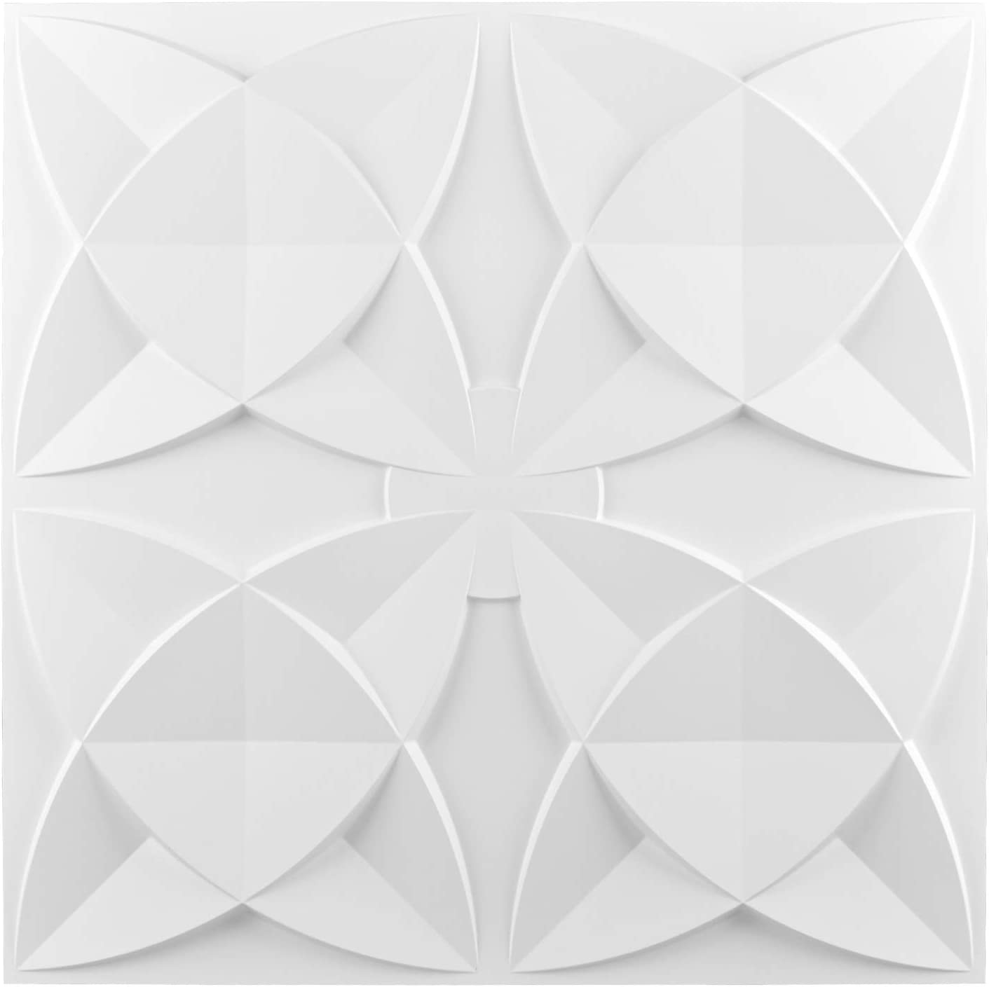 Art3d Decorative Drop Ceiling Tile 2x2 Pack of 12pcs, Glue up Ceiling Panel Square Relief in Matt White