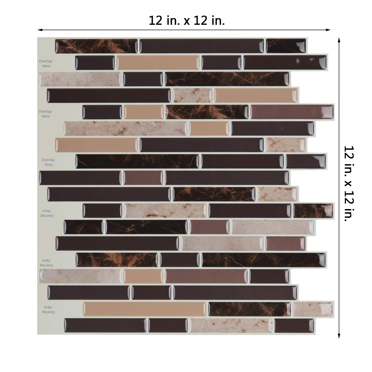 A17039 - Peel and Stick on Wall Tiles for Kitchen Backsplash, Set of 6