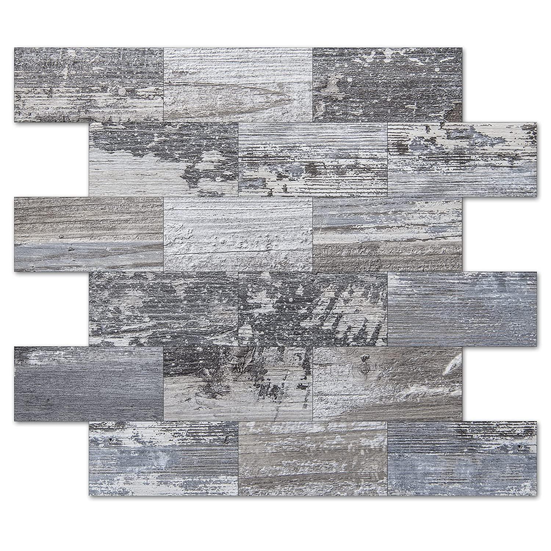 Art3d Peel and Stick Tile Metal Backsplash for Kitchen, Silver Set of 10