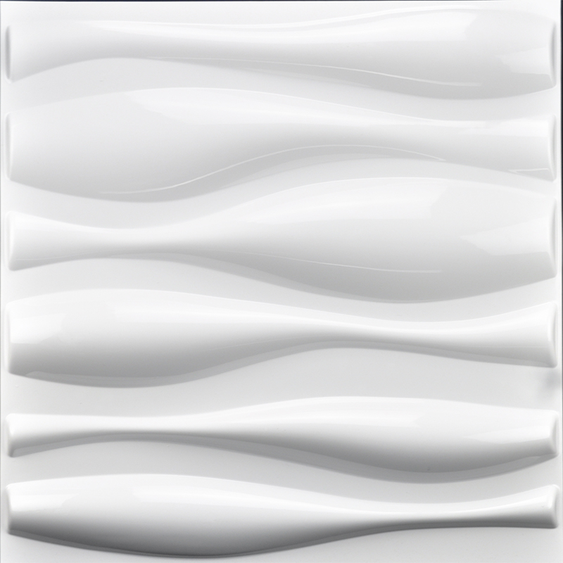 A10002 - Durable PVC 3D Wall Panels Wave Wall Design, White, 12 Tiles 32 SF