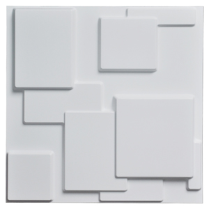 A10033 - Decorative Tiles 3D Wall Panels, White Squares, 12 Tiles 32 SF
