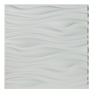 A10037- PVC Wave Board Textured 3D Wall Panels, White Wave, 12 Tiles 32 SF