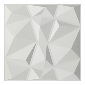 A10038   Textures 3D Wall Panels White Diamond Wall Design, 12 Tiles 32 SF