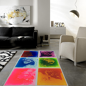 A11000 - Multi-Color Exercise Mat Liquid Encased Fancy Playmat Kids Play Floor Tile, Set of 6