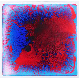 Fusion Liquid Floor Tile Creative Dance Floor for Baby Plyhouse, KTV, Bar, Fashion Shop 6-Pieces 16 Sq.Ft Blue-Red Floor Tiles