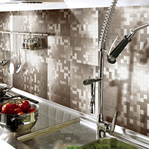 A16001 - Peel and Stick Tile Metal Backsplash Sticker, 12