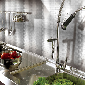 A16002 - Peel and Stick Metal Backsplash Tile for Kitchen, 12