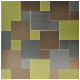 A16004 - Metal Backsplash Tiles for Kitchen or Bath 12X12 In 10 Sheets Metal Mosaic Tiles 9.7 Sq.ft