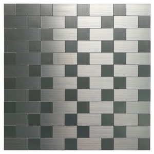 Aluminum Mosaic Tile, Peel & Stick, Backsplash, 9.7 sq.ft, Silver Metal Tiles