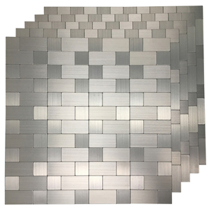 5 Piece Peel and Stick Tile Metal Backsplash for Kitchen, Silver Aluminum Surface
