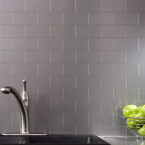 100-Pieces Peel & Stick Aluminum Brushed Backsplash Tiles