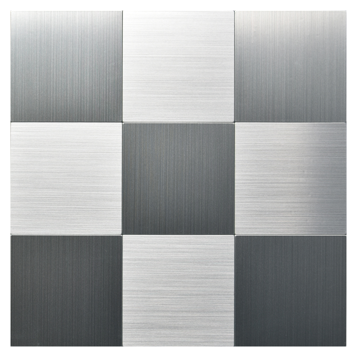 Peel and Stick Metal Backsplash Tile, Brushed Stainless Steel in Square 10 Tiles 12