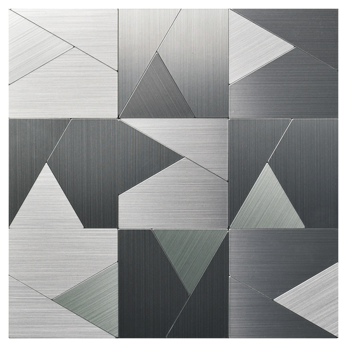 Peel and Stick Metal Backsplash Tile, Brushed Stainless Steel in Triangle Jigsaw 12