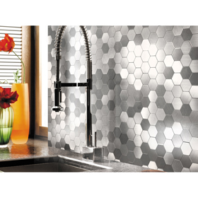 A16081 - Self-adhesive Metal Tiles 10 Pcs Hexagon Peel N Stick Backsplashes Tiles 12x12In