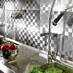 A16111 - Peel and Stick On Wall Metal Backsplash Tile, 12