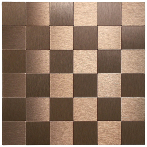 A16112 - Bronze Metal Mosaic 10 Pcs Peel N Stick Backsplashes Tiles 12x12In