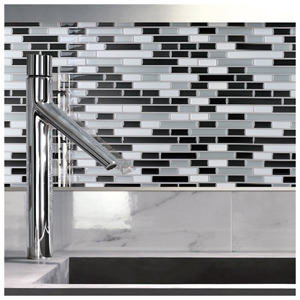 Peel and Stick Wall Tile Kitchen Backsplash Gray Design, 12