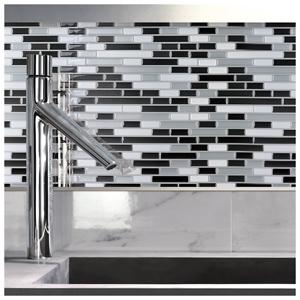 A17002 - Peel and Stick Wall Tile Kitchen Backsplash Gray Design, 12