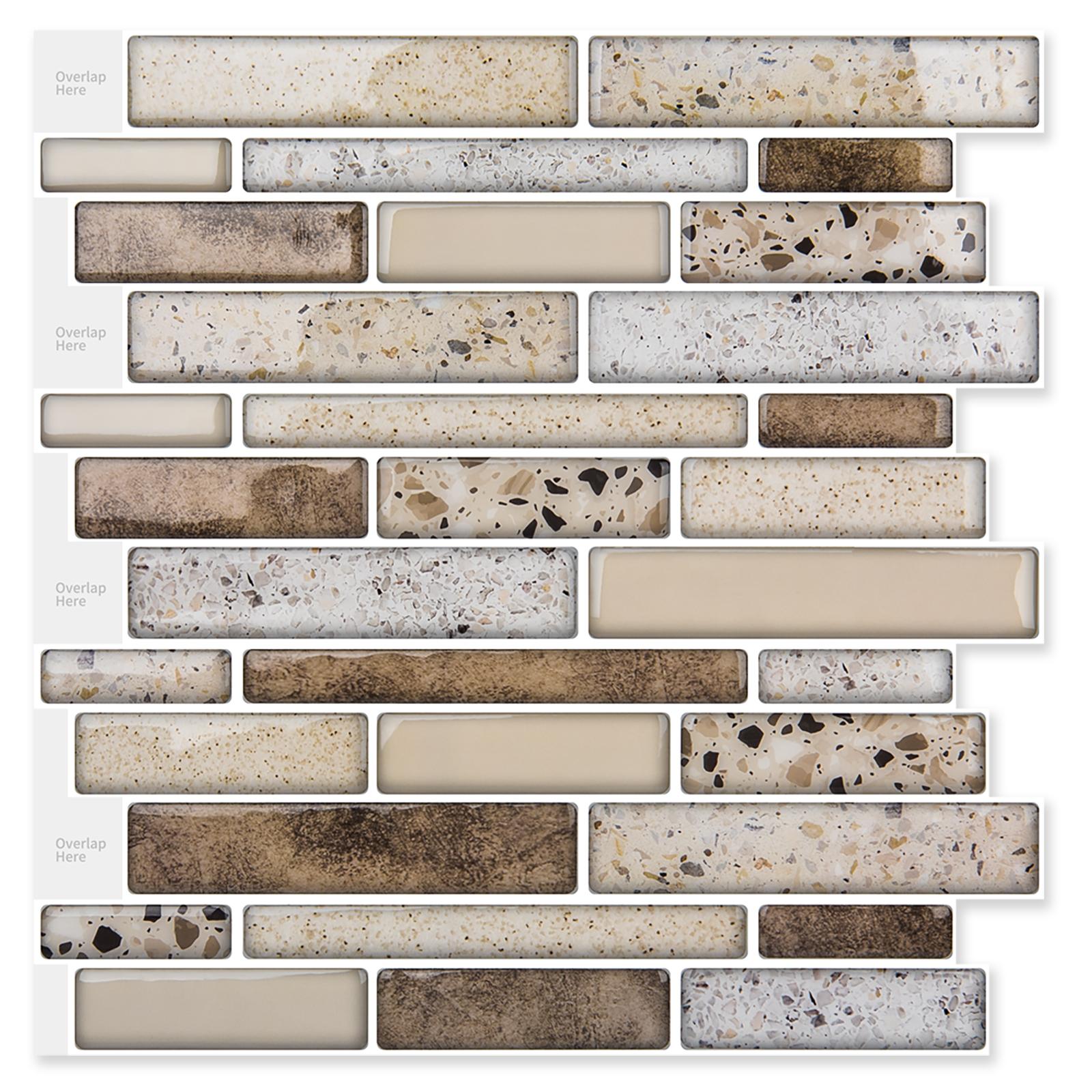 A17021 - Peel & Stick Mosaic 11.2 x 12in 10 Pcs Backsplash Tiles 9.5 Sq.Ft