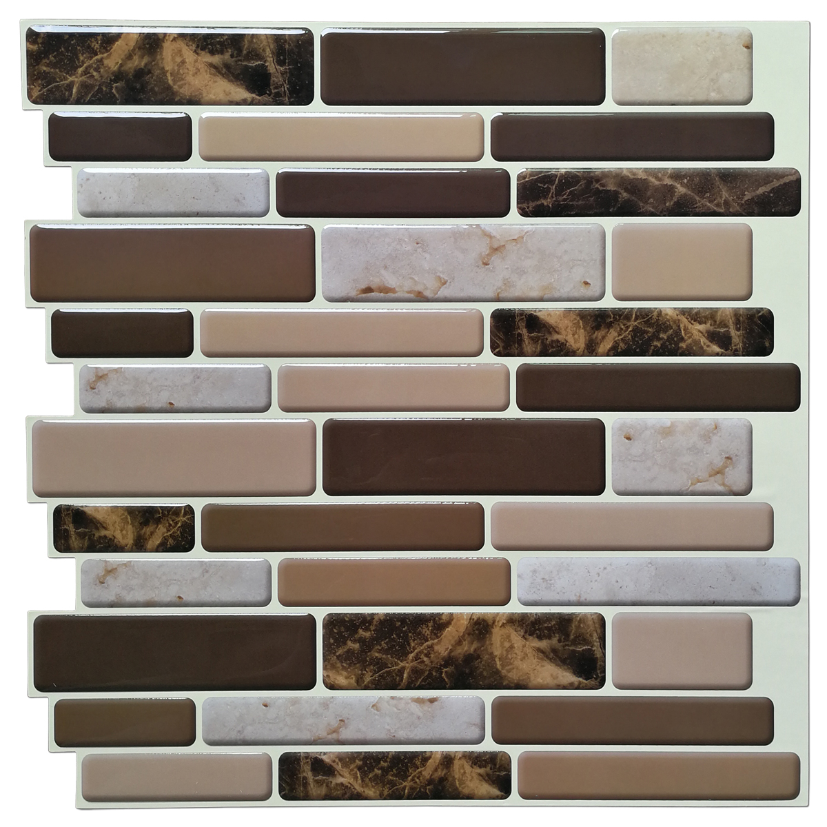 A17040 -  Premium Anti Mold Peel and Stick Wall Tile Marble Style, Set of 6