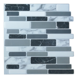 A17042 - Grey Marble Peel and Stick Backsplash Tiles,  12