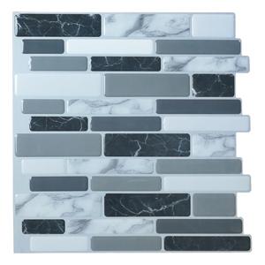A17042 - Grey Marble Peel and Stick Backsplash Tiles,  12