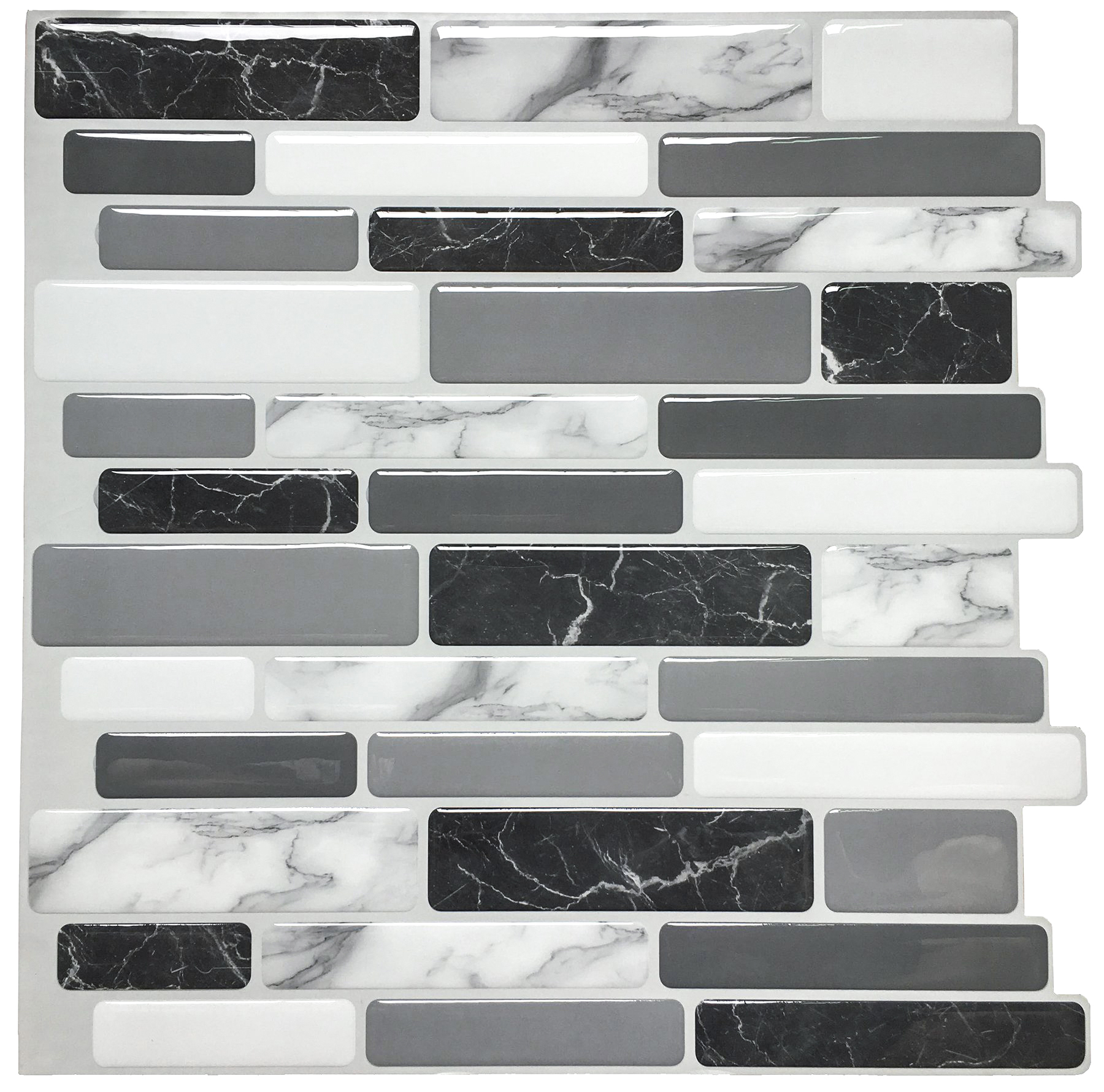 A17042 - Grey Marble Peel and Stick Backsplash Tiles
