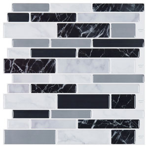 Art3d 10-Sheet Peel and Stick Tile Backsplash for Kitchen in Marble Design