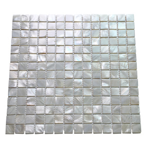 A18010 - White Square Pearl Shell Tile Mesh Backing Natural Varied