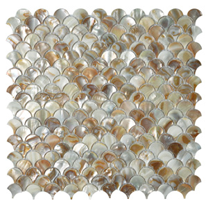 A18012 - Mother of Pearl Fan Shaped Fish Scale Mosaic Tile Honed, 12