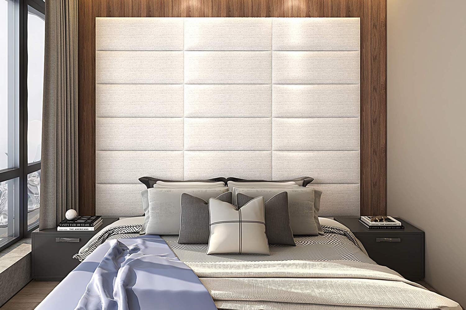 Upholstered Headboard Queen - Set of 8 panels Removable Accent Leather Wall Panels - White 31.5