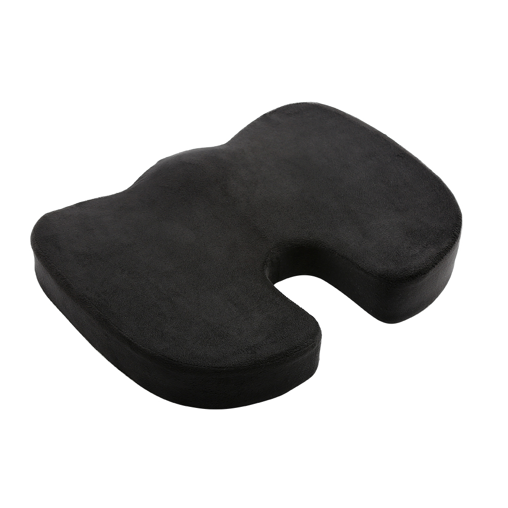 Black Premium Orthopedic Memory Foam Seat Cushion Coccyx Tailbone Pain - Sciatica Back Pain Relief - Office Chair Wheelchair Car