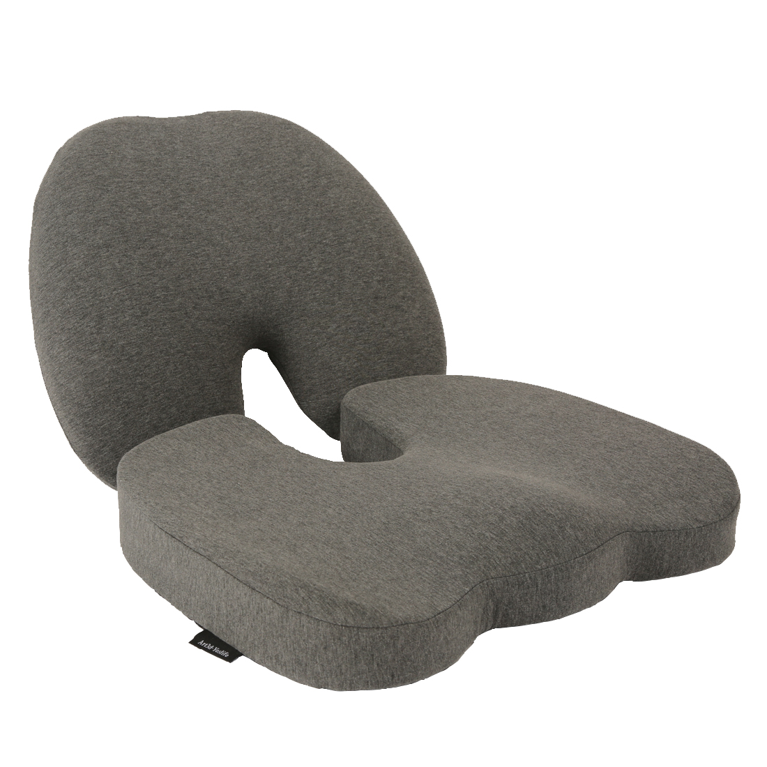 Premium Memory Foam Lumbar Support Pillow and Seat Cushion Coccyx Orthopedic, Set of 2, Dark Gray