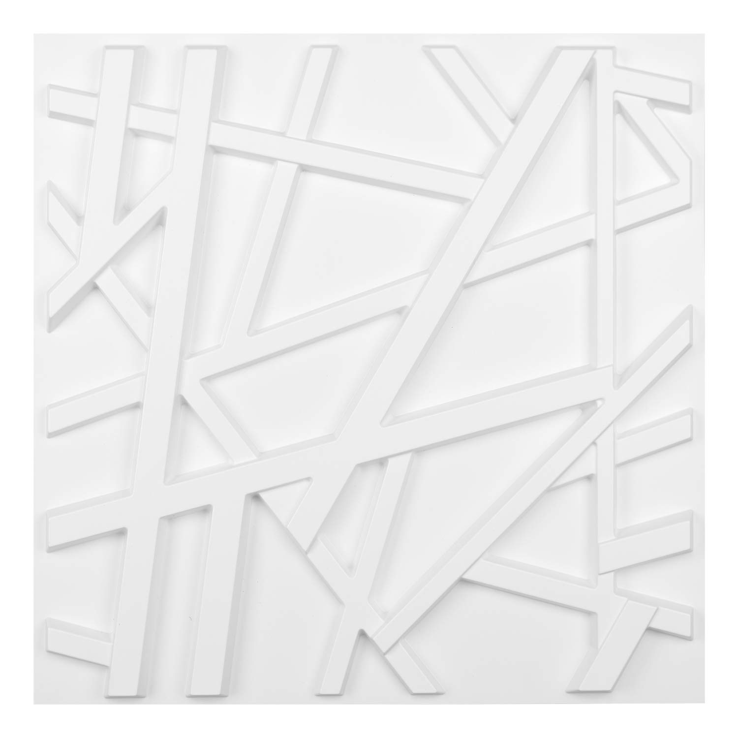 Matt White PVC 3D Wall Panel Geometric Crossing Lines Cover 32 Sqft, for Residential and Commercial Interior Decor
