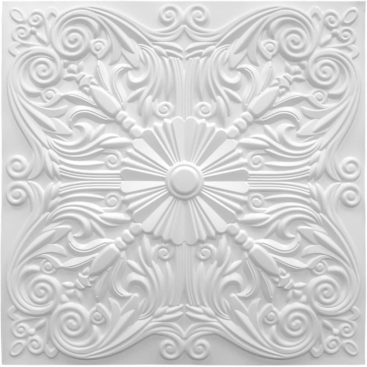 A10904P12 -Decorative Ceiling Tile 2x2 Glue up, Lay in Ceiling Tile 24x24 Pack of 12pcs Spanish Floral in Matt White