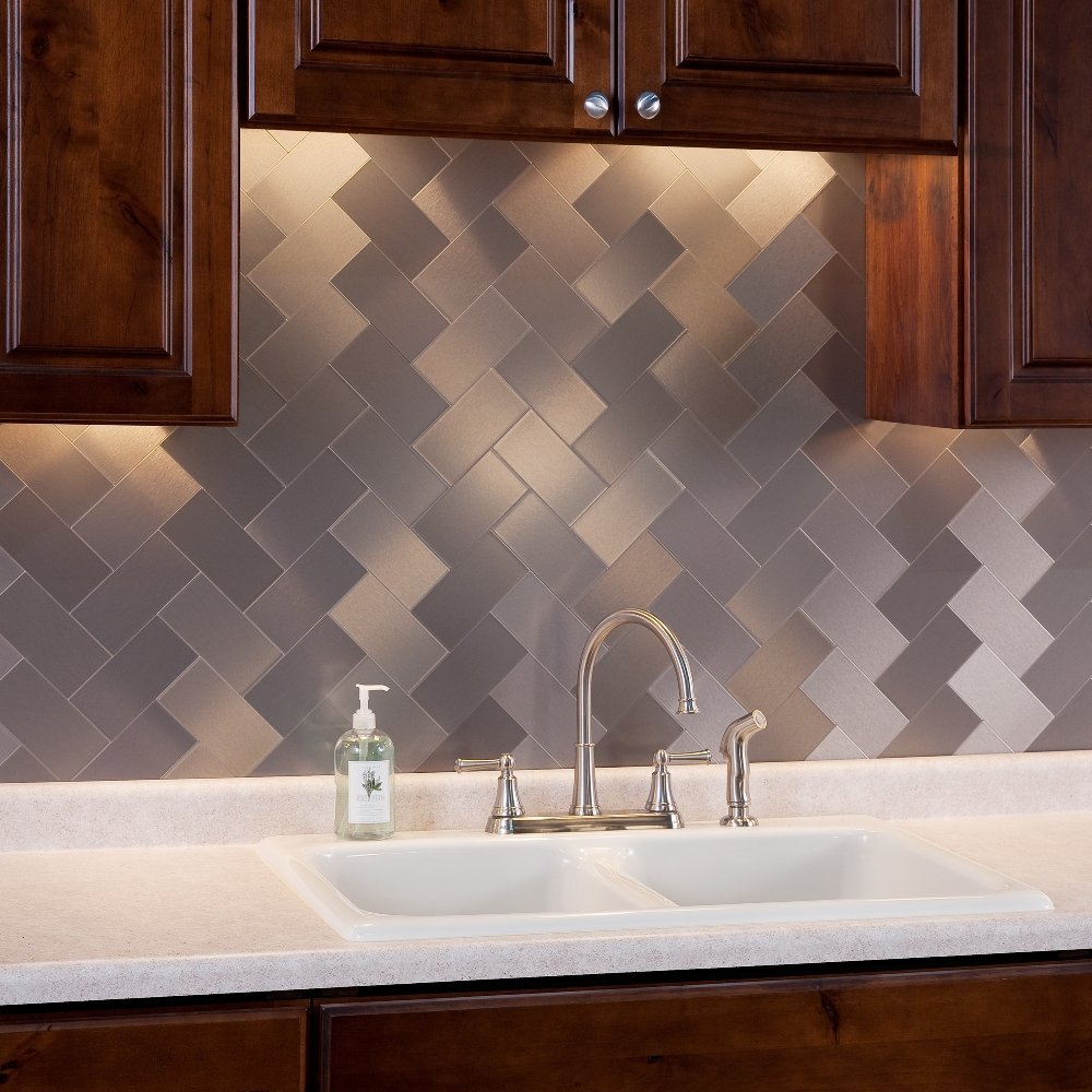 Stupendous Peel And Stick Metal Tiles Metal Backsplash Tiles For Kitchen Beutiful Home Inspiration Truamahrainfo