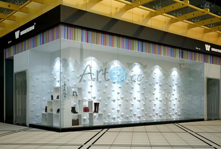 3D Illuminative Wall Tile Cloth-Shoe Bag Store Decoration