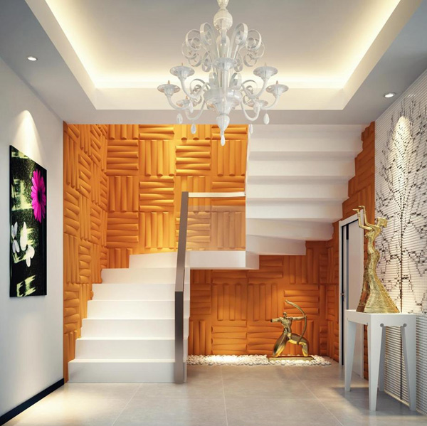 3D PVC Wall Décor in Stairs Wall Application