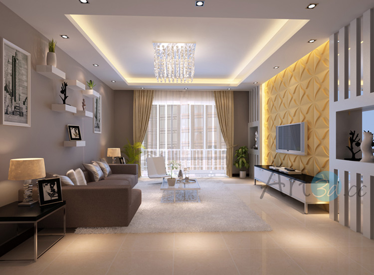 3D Textured Wall Cladding For Living Room