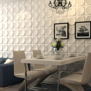 A10017 - Modern 3D White Wall Panels, Moon Surface Design, 12 Tiles 32 SF