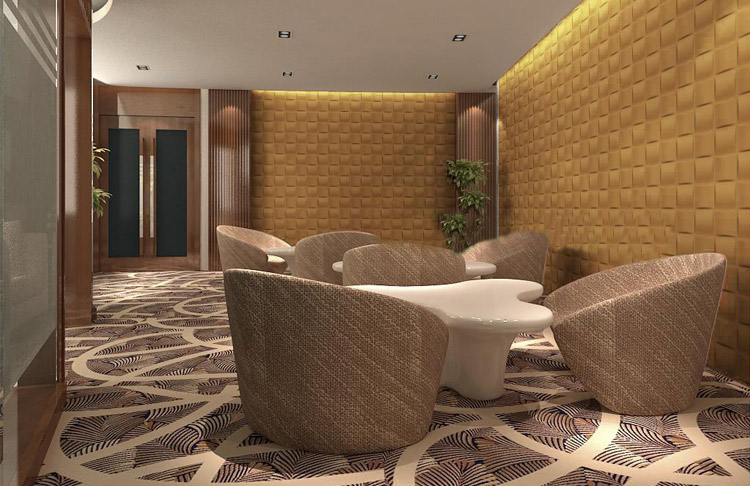 Business Space with Embossed 3D Wall Design