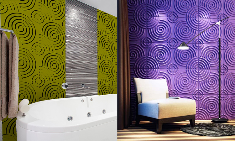 Bathroom and Livingroom with Decorative 3D Wall Paper